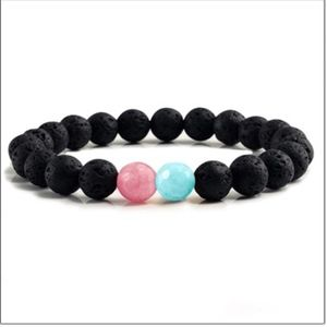 Jewelry - Natural Lava Stone Pink/Blue Beaded Bracelet